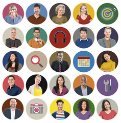 Diverse Multi Ethnic People Technology Media Concept
