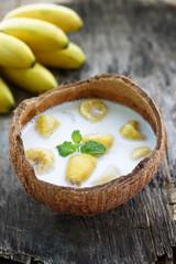 kluay buad chee, ou banane au lait de coco, dessert Thaïlandais