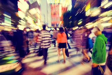Crowd Pedestrian Walking Japan Concept