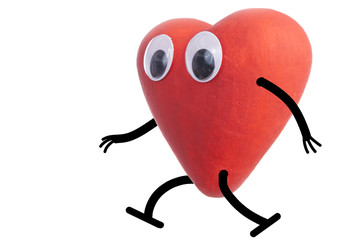 Heart character walking