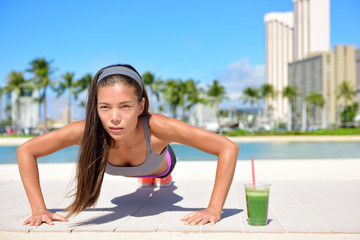 Healthy lifestyle girl exercise and green smoothie