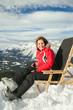Women at winter mountains in european high Alps