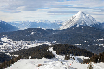 The panoramic top view of ski Olympia Region Seefeld, Austria