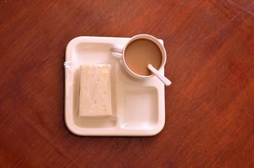 Coffee break on wood table