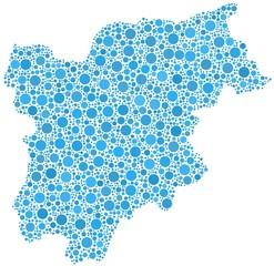 Decorative map of Trentino Alto Adige - Sudtirol -