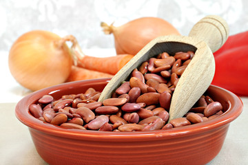 Raw Kidney Beans in a Bowl, Macro with Selective Focus