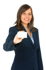 Businesswoman with an empty business card