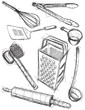 Kitchen utensil sketches - 76871693