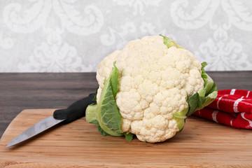 Cauliflower Head on Cutting Board