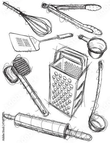 Kitchen utensil sketches - 76871693