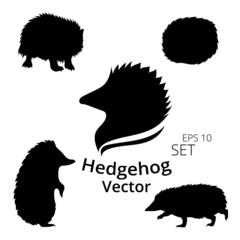 Hedgehog set vector, eps 10, silhouettes