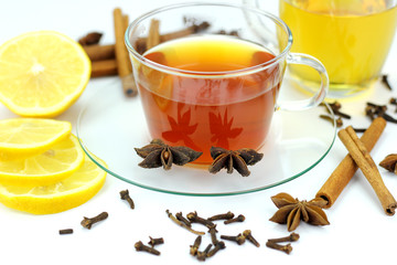 Aromatic hot tea on a cold day