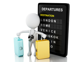 3d man tourist with travel suitcases and airport board