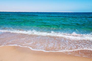 Tropical beach with blue sea