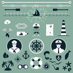 vector nautical icons, captain and sailor boat,