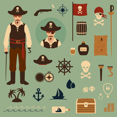 vector pirate set icons, treasure, map,skull illustration