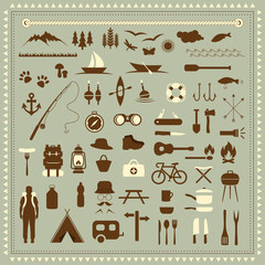 vector set camping icons, travel equipment, tent, compass