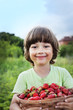 boy with basket of strawberry