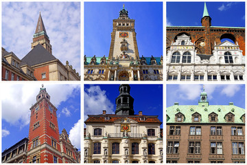 Rathäuser v.KIEL + HAMBURG + LÜBECK + LEER + LÜNEBURG + BREMEN