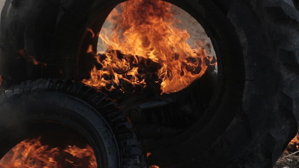 Close up of a great fire and extinguishing
