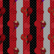 Abstract elegance seamless patchwork pattern with hearts backgro