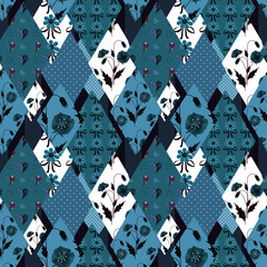 Patchwork floral seamless pattern texture background