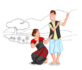 Dancing Sikkimi couple