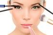 Makeup brushes concept - woman beauty face