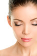 Closed eyes beauty face - Asian woman eyelashes