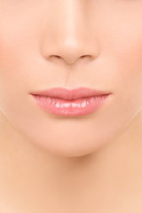 Mouth and nose closeup - beauty face woman