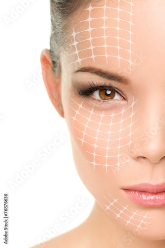 Leinwanddruck Bild Face lift anti-aging treatment - Asian woman