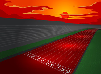 Stadium and racetrack in dusk,sports vector background