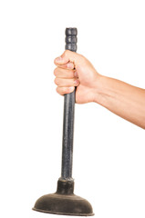closeup of hand holding a plunger