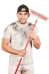 young muscular latin cleaner