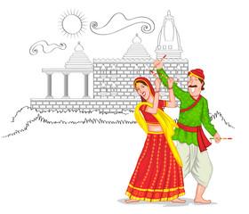 Dancing Gujarati couple