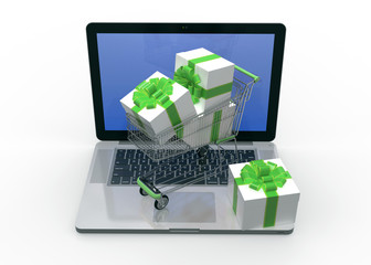 E-commerce. Shopping cart with Gift boxes on laptop. 3d Render