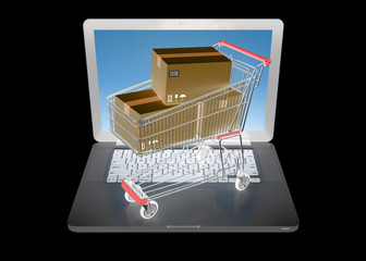 E-commerce. Shopping cart on laptop. Online shopping Concept