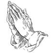 Hände zum Gebet gefaltet, schwarz-weiß Zeichnung, Vektor - 76877878