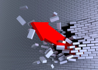 3d arrow burst through brick wall