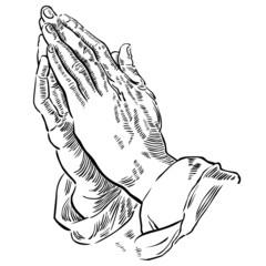 Hände zum Gebet gefaltet, schwarz-weiß Zeichnung, Vektor