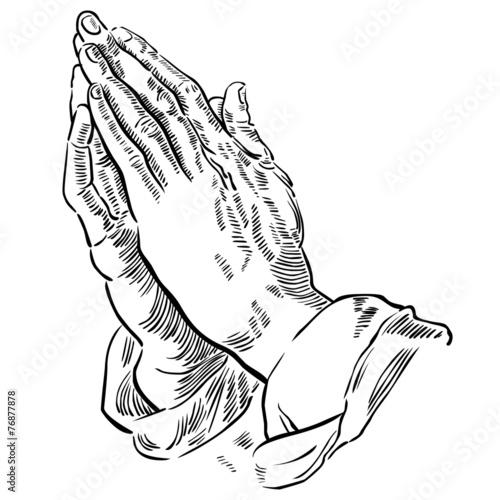 Hände zum Gebet gefaltet, schwarz-weiß Zeichnung, wektor