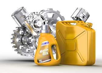 motor oil canister and jerrycan