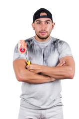 young muscular latin construction painter