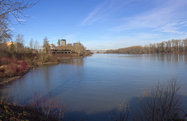 Willamette river viewpoint and new constructions.