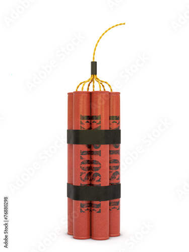 Dynamite bomb isolated on white background - 76880298