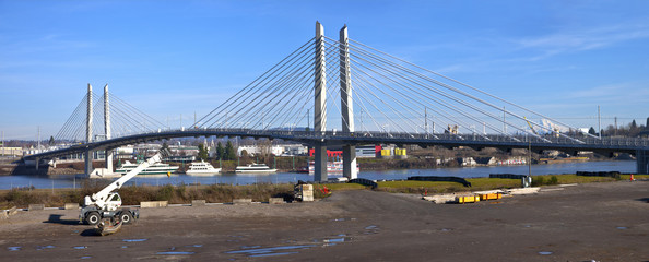 Portland Oregon Tilikum crossing pedestrian bridge panorama.