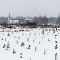 country chruch in winter