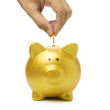 Putting coin into piggy bank