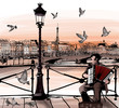 Accordionist playing on Pont des arts in Paris