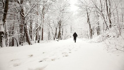 Man jogging in the park during winter